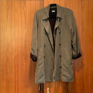 Olive green Reformation double breast trench coat